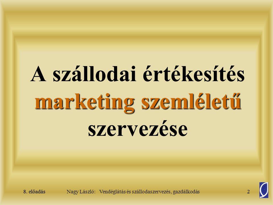 8. előadás2Nagy László: Vendéglátás és szállodaszervezés, gazdálkodás8. előadás2 marketing szemléletű A szállodai értékesítés marketing szemléletű sze