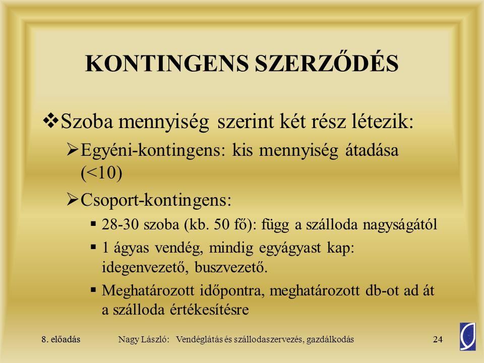 8. előadás24Nagy László: Vendéglátás és szállodaszervezés, gazdálkodás8. előadás24 KONTINGENS SZERZŐDÉS  Szoba mennyiség szerint két rész létezik: 