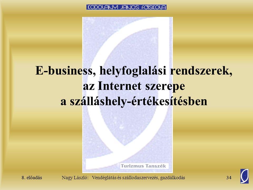 8. előadás34Nagy László: Vendéglátás és szállodaszervezés, gazdálkodás8. előadás34 E-business, helyfoglalási rendszerek, az Internet szerepe a szállás