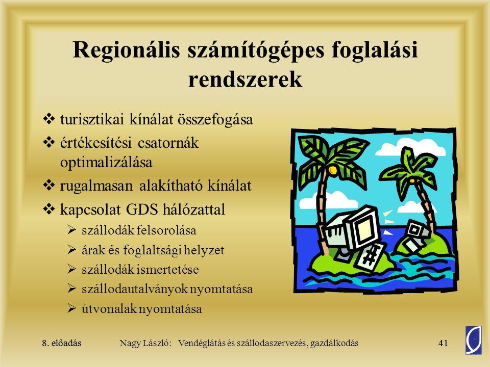 8. előadás41Nagy László: Vendéglátás és szállodaszervezés, gazdálkodás8. előadás41 Regionális számítógépes foglalási rendszerek  turisztikai kínálat