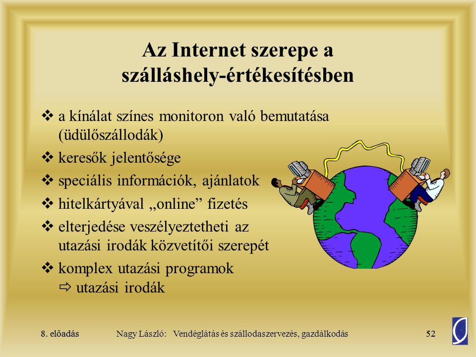 8. előadás52Nagy László: Vendéglátás és szállodaszervezés, gazdálkodás8. előadás52 Az Internet szerepe a szálláshely-értékesítésben  a kínálat színes