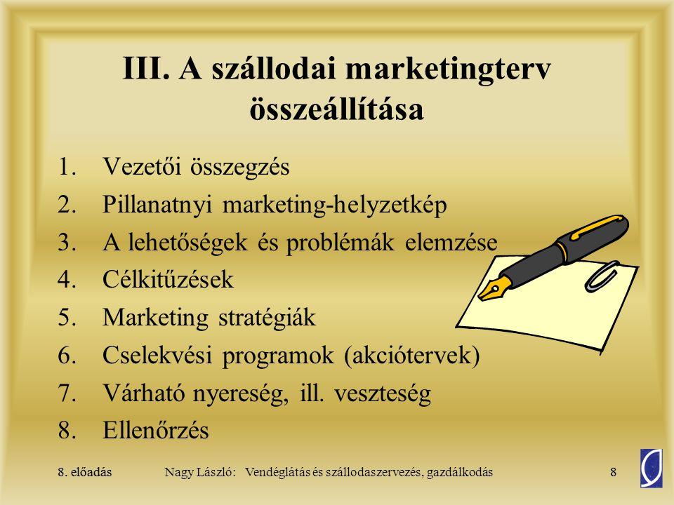 8. előadás8Nagy László: Vendéglátás és szállodaszervezés, gazdálkodás8. előadás8 III. A szállodai marketingterv összeállítása 1.Vezetői összegzés 2.Pi