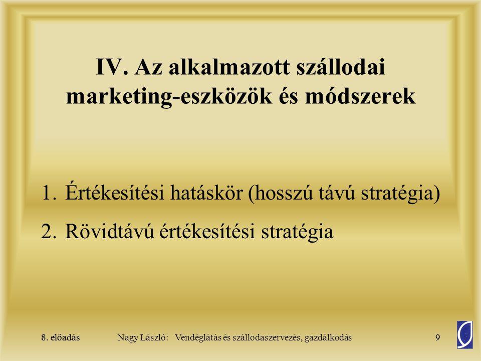 8. előadás9Nagy László: Vendéglátás és szállodaszervezés, gazdálkodás8. előadás9 IV. Az alkalmazott szállodai marketing-eszközök és módszerek 1.Értéke