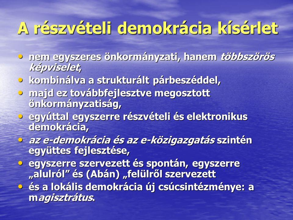 A részvételi demokrácia kísérlet • nem egyszeres önkormányzati, hanem többszörös képviselet, • kombinálva a strukturált párbeszéddel, • majd ez tovább