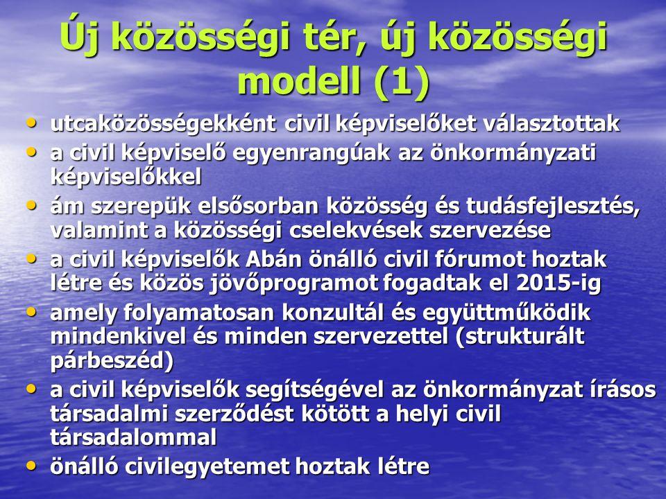 Új közösségi tér, új közösségi modell (2) • Az első két kísérleti év után ismét civil képviselőket választanak (már négy évre) • A gazdasági társaságok, a bejegyzett civil szervezetek és az egyházak szintén képviselőket választanak • Így az öt képviselői csoport összesen 56 képviselőből áll, akik 2007 nyarán megalakítják az Abai Magisztrátust • A helyi önkormányzat a Magisztrátus javára jó néhány kompetenciájáról, feladatáról – jogi formában – lemond • A Magisztrátus és az önkormányzat minden családdal írásos megállapodást köt, hogy konkrét mit vállal a közösségi cselekvésekben