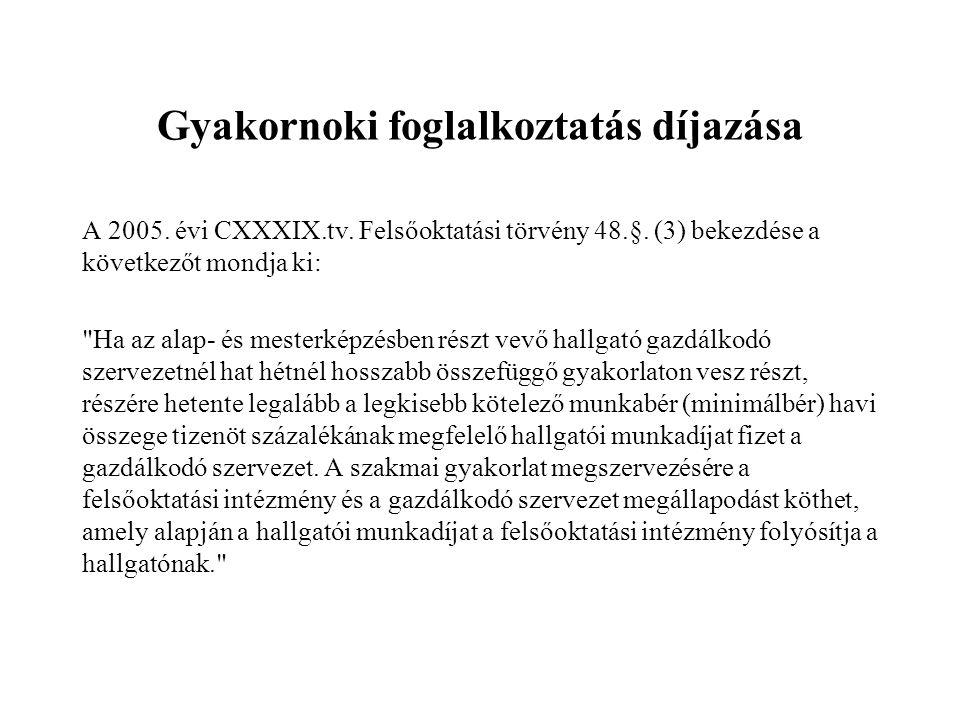 Gyakornoki foglalkoztatás díjazása A 2005.évi CXXXIX.tv.