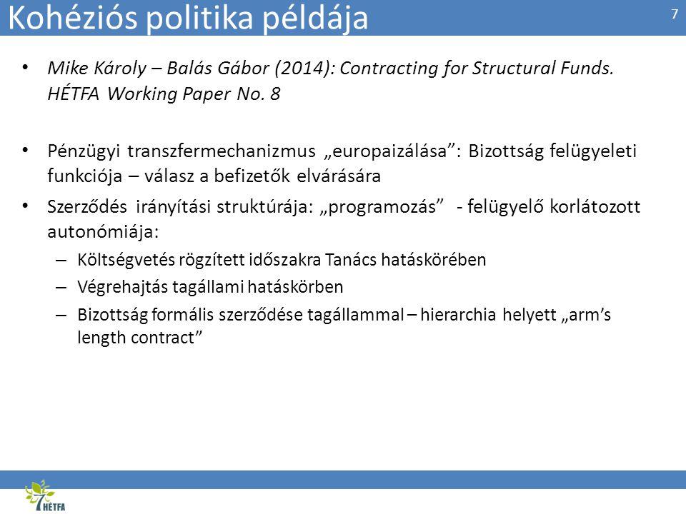 Kohéziós politika példája • Mike Károly – Balás Gábor (2014): Contracting for Structural Funds. HÉTFA Working Paper No. 8 • Pénzügyi transzfermechaniz