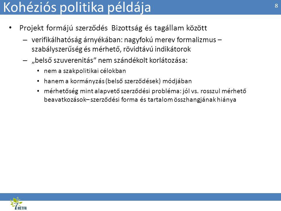 Kohéziós politika példája • Projekt formájú szerződés Bizottság és tagállam között – verifikálhatóság árnyékában: nagyfokú merev formalizmus – szabály