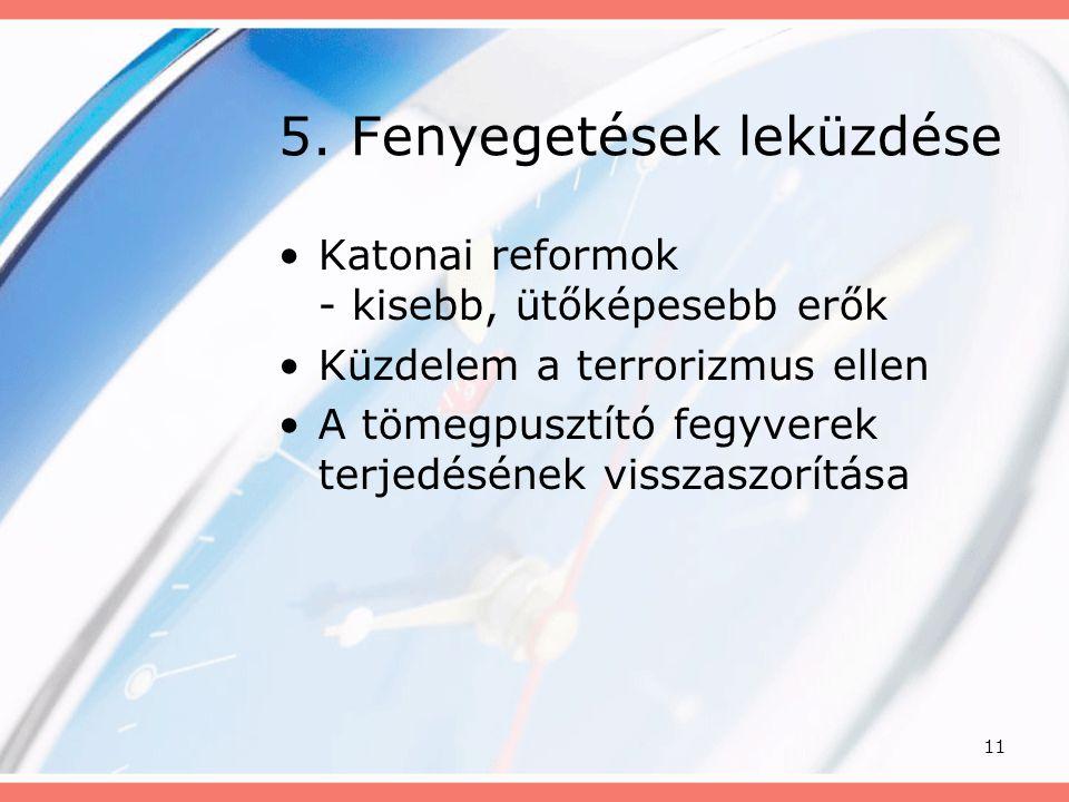 11 5. Fenyegetések leküzdése •Katonai reformok - kisebb, ütőképesebb erők •Küzdelem a terrorizmus ellen •A tömegpusztító fegyverek terjedésének vissza