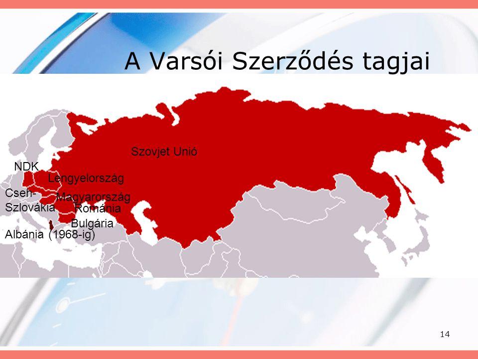 14 A Varsói Szerződés tagjai Albánia (1968-ig) Szovjet Unió NDK Lengyelország Cseh- Szlovákia Magyarország Románia Bulgária