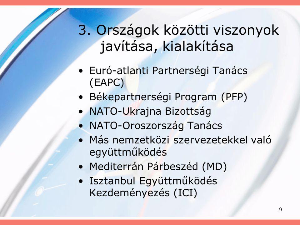 9 3. Országok közötti viszonyok javítása, kialakítása •Euró-atlanti Partnerségi Tanács (EAPC) •Békepartnerségi Program (PFP) •NATO-Ukrajna Bizottság •