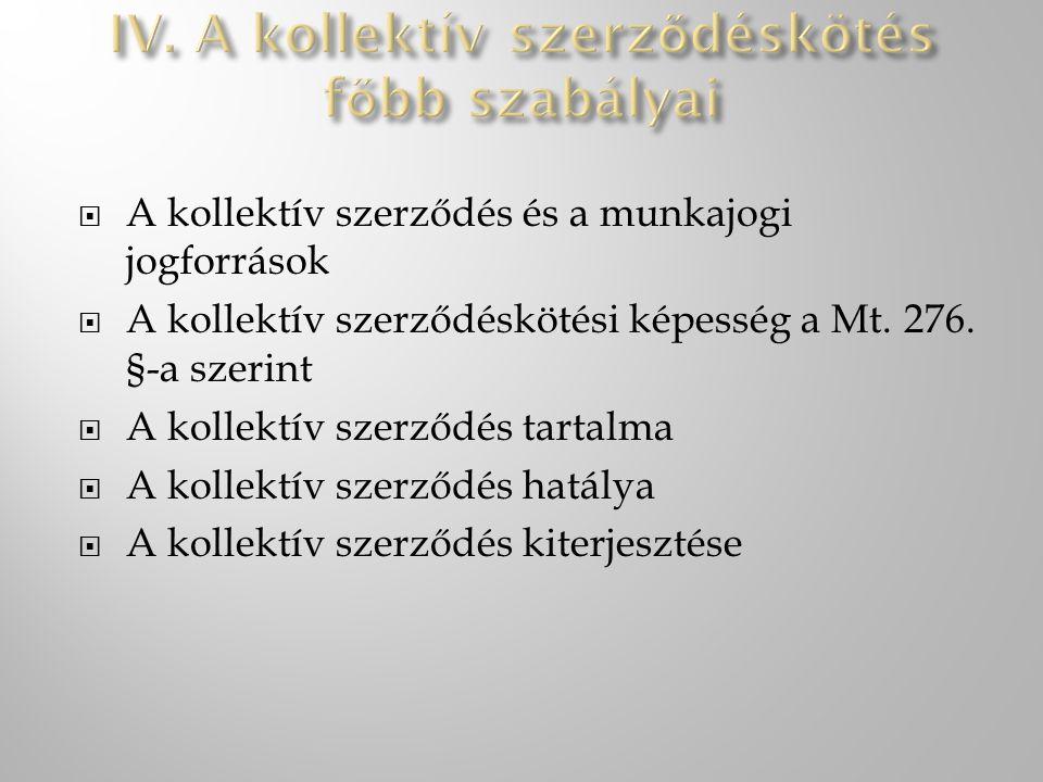  A kollektív szerződés és a munkajogi jogforrások  A kollektív szerződéskötési képesség a Mt. 276. §-a szerint  A kollektív szerződés tartalma  A