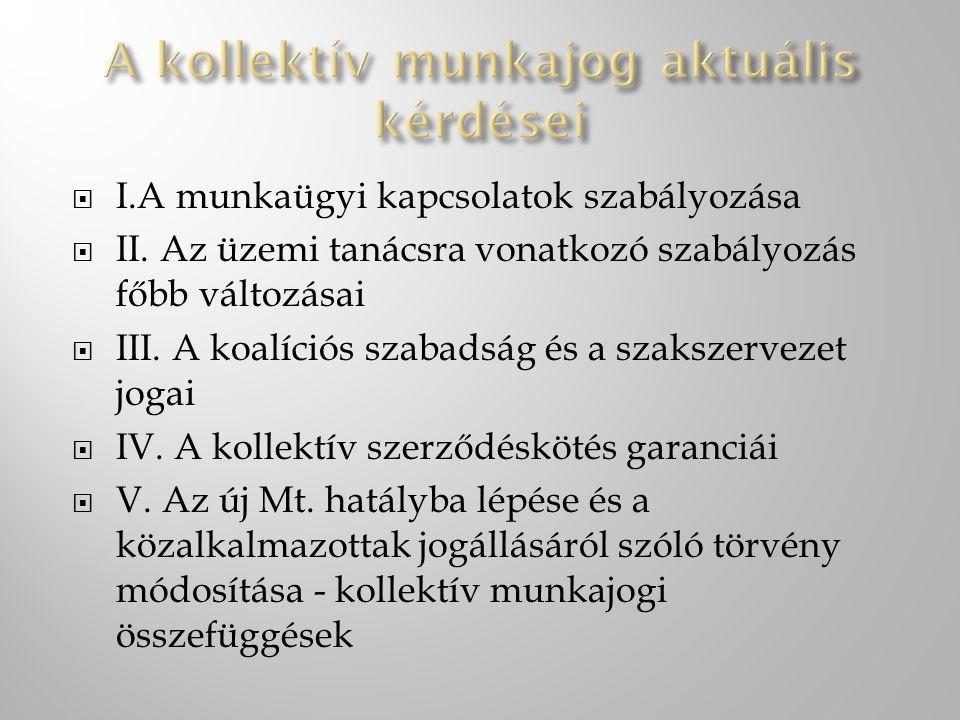 I.A munkaügyi kapcsolatok szabályozása  II. Az üzemi tanácsra vonatkozó szabályozás főbb változásai  III. A koalíciós szabadság és a szakszervezet