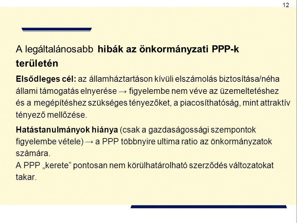 12 A legáltalánosabb hibák az önkormányzati PPP-k területén Elsődleges cél: az államháztartáson kívüli elszámolás biztosítása/néha állami támogatás el