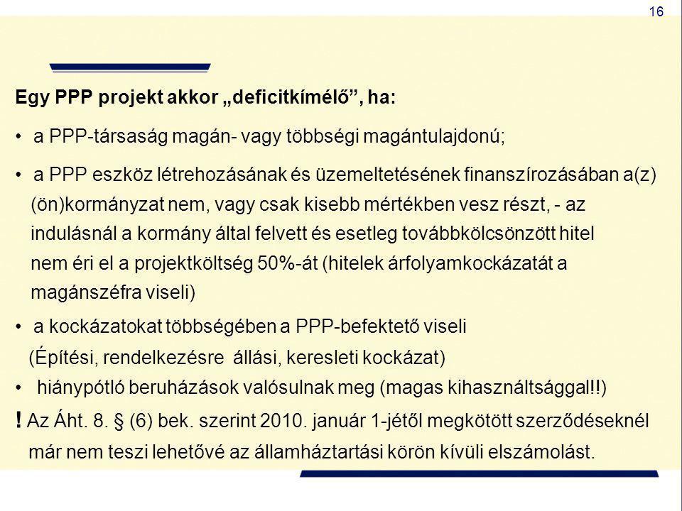 """16 Egy PPP projekt akkor """"deficitkímélő"""", ha: • a PPP-társaság magán- vagy többségi magántulajdonú; • a PPP eszköz létrehozásának és üzemeltetésének f"""