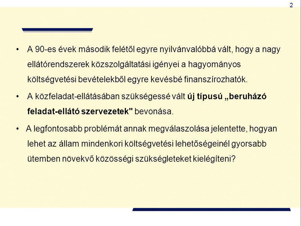 2 •A 90-es évek második felétől egyre nyilvánvalóbbá vált, hogy a nagy ellátórendszerek közszolgáltatási igényei a hagyományos költségvetési bevételek