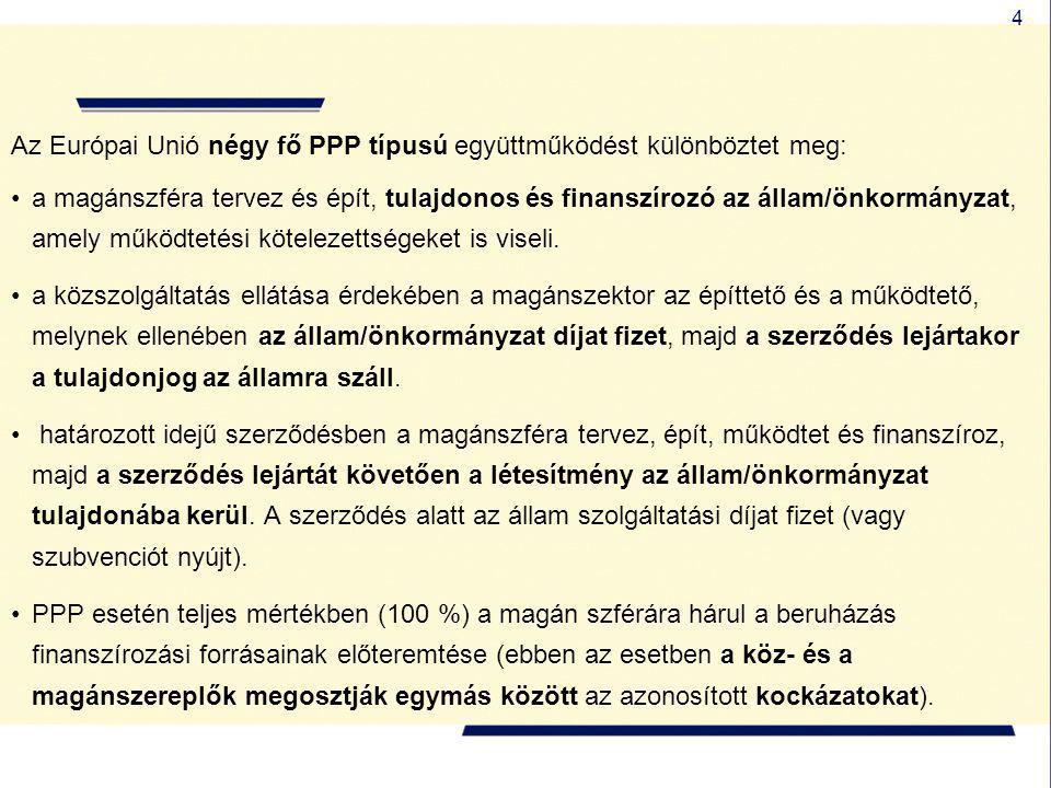 4 Az Európai Unió négy fő PPP típusú együttműködést különböztet meg: •a magánszféra tervez és épít, tulajdonos és finanszírozó az állam/önkormányzat,