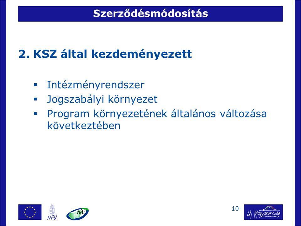 10 Szerződésmódosítás 2.KSZ által kezdeményezett  Intézményrendszer  Jogszabályi környezet  Program környezetének általános változása következtében