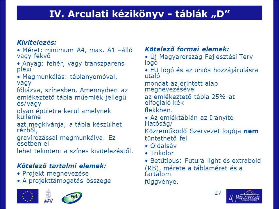 """27 IV.Arculati kézikönyv - táblák """"D Kivitelezés: • Méret: minimum A4, max."""