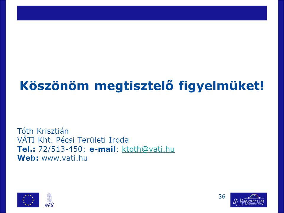 36 Köszönöm megtisztelő figyelmüket.Tóth Krisztián VÁTI Kht.