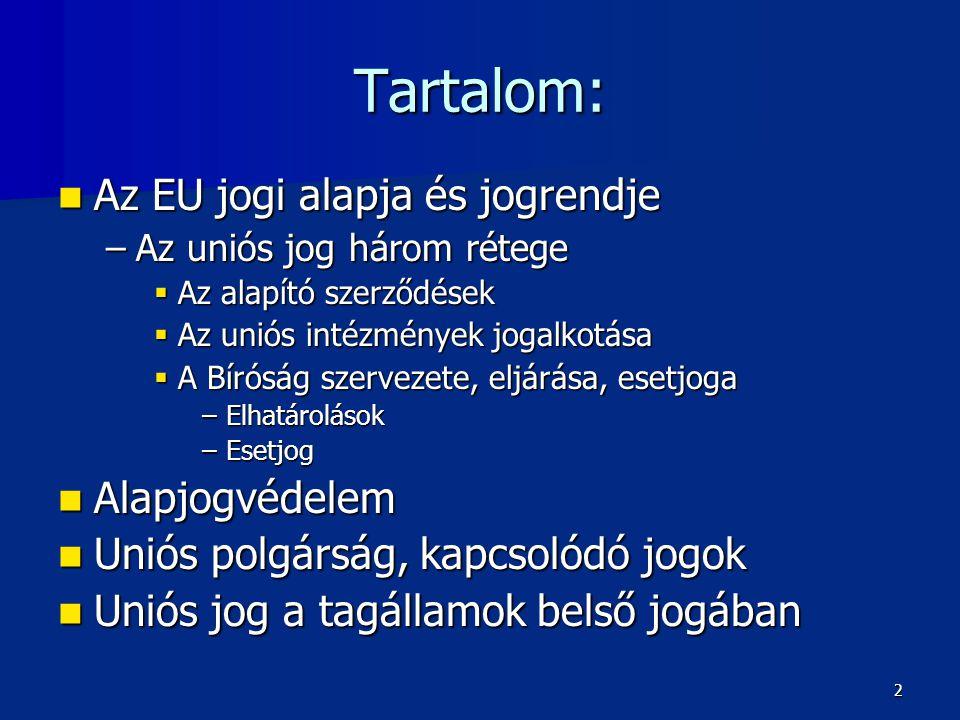 Tartalom:  Az EU jogi alapja és jogrendje –Az uniós jog három rétege  Az alapító szerződések  Az uniós intézmények jogalkotása  A Bíróság szervezete, eljárása, esetjoga –Elhatárolások –Esetjog  Alapjogvédelem  Uniós polgárság, kapcsolódó jogok  Uniós jog a tagállamok belső jogában 2