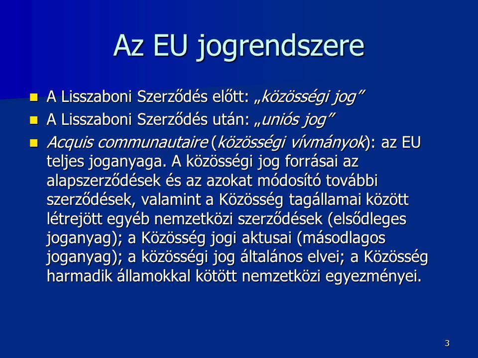 """Az EU jogrendszere  A Lisszaboni Szerződés előtt: """"közösségi jog  A Lisszaboni Szerződés után: """"uniós jog  Acquis communautaire (közösségi vívmányok): az EU teljes joganyaga."""
