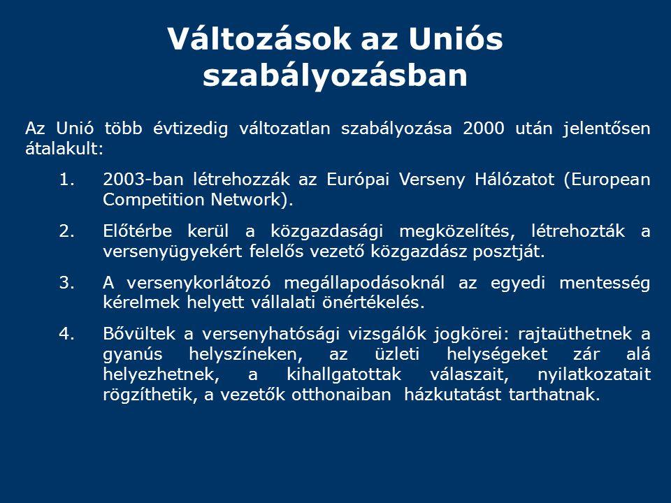 Változások az Uniós szabályozásban Az Unió több évtizedig változatlan szabályozása 2000 után jelentősen átalakult: 1.2003-ban létrehozzák az Európai V