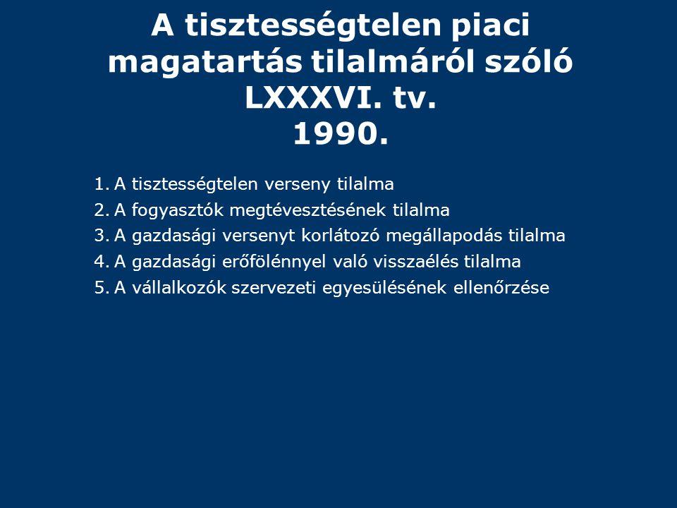 A tisztességtelen piaci magatartás tilalmáról szóló LXXXVI. tv. 1990. 1.A tisztességtelen verseny tilalma 2.A fogyasztók megtévesztésének tilalma 3.A