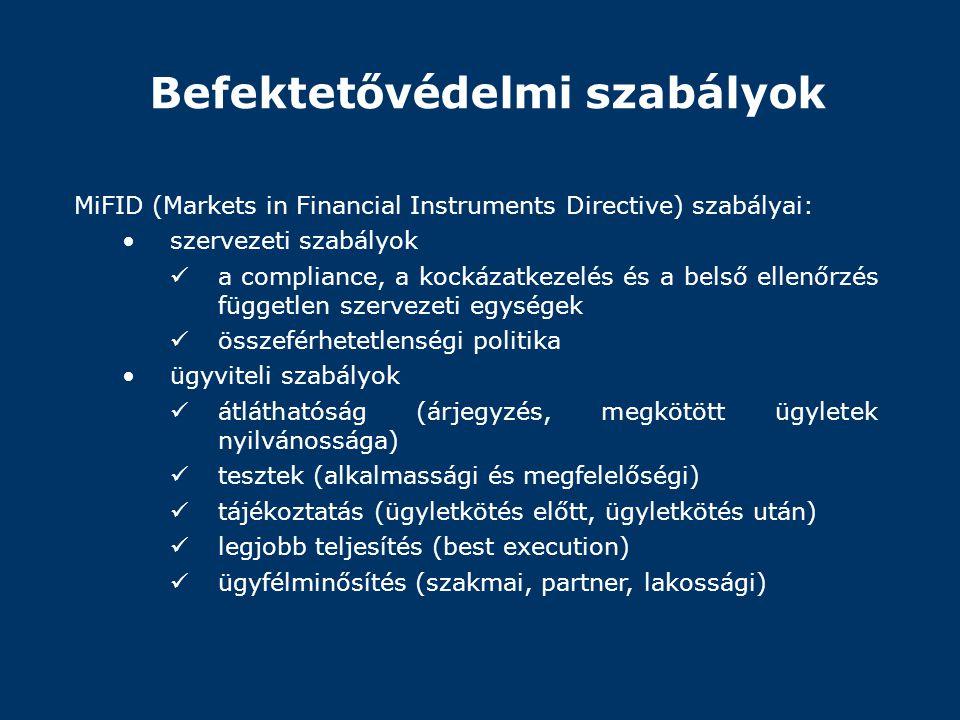 Befektetővédelmi szabályok MiFID (Markets in Financial Instruments Directive) szabályai: •szervezeti szabályok  a compliance, a kockázatkezelés és a