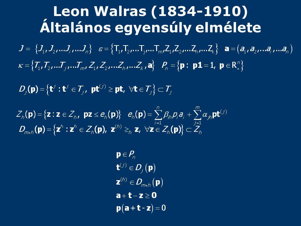 Leon Walras (1834-1910) Általános egyensúly elmélete