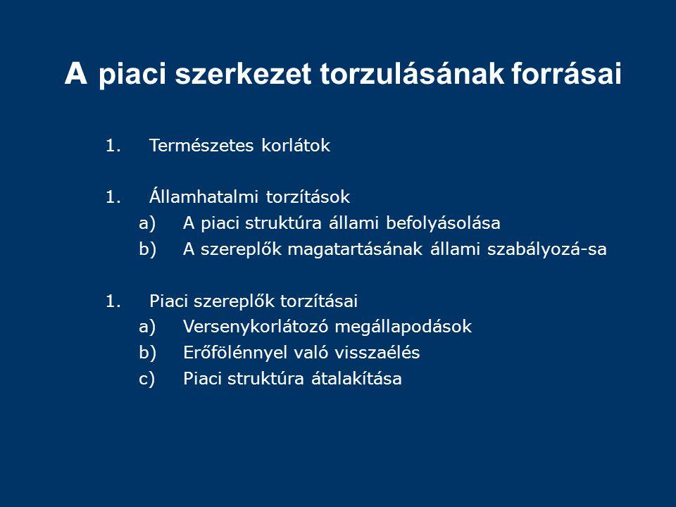 A piaci szerkezet torzulásának forrásai 1.Természetes korlátok 1.Államhatalmi torzítások a)A piaci struktúra állami befolyásolása b)A szereplők magata