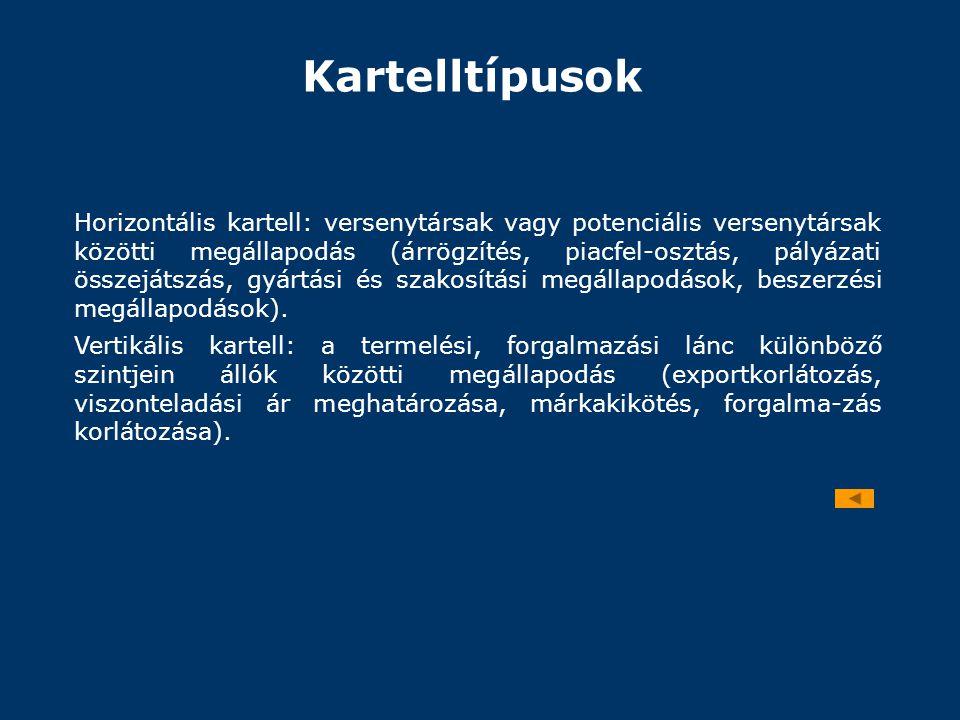 Kartelltípusok Horizontális kartell: versenytársak vagy potenciális versenytársak közötti megállapodás (árrögzítés, piacfel-osztás, pályázati összeját