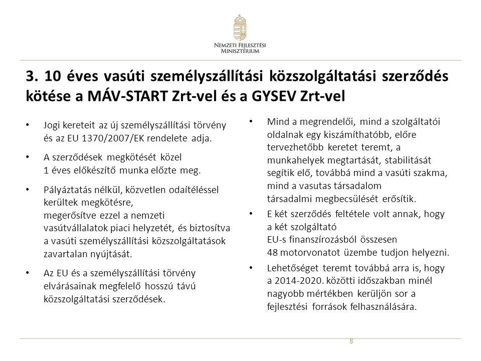 8 3. 10 éves vasúti személyszállítási közszolgáltatási szerződés kötése a MÁV-START Zrt-vel és a GYSEV Zrt-vel • Jogi kereteit az új személyszállítási