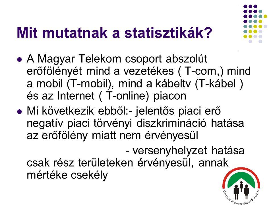 Mit mutatnak a statisztikák?  A Magyar Telekom csoport abszolút erőfölényét mind a vezetékes ( T-com,) mind a mobil (T-mobil), mind a kábeltv (T-kábe