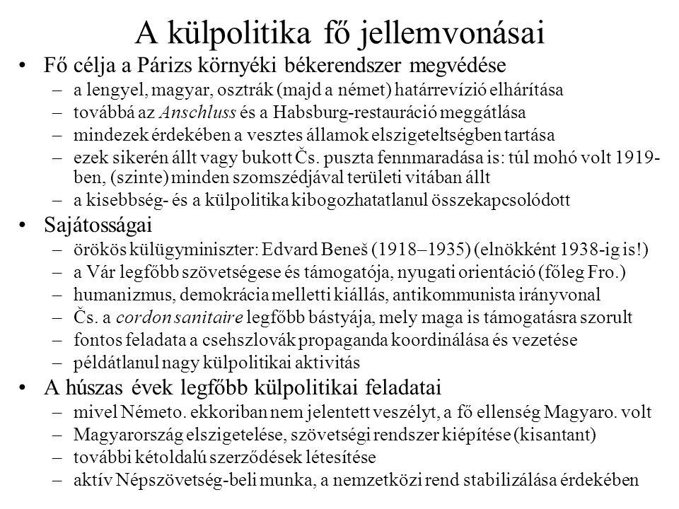 A kisantant létrehozása •Átmenetileg magyarbarát francia külpolitika 1920 nyarán –Millerand és Paléologue lengyel–magyar–román szovjetellenes blokkot akart –magyar–francia gazdasági közeledés, lengyel–magyar tárgyalások is –Beneš attól tartott, hogy Párizs területi kedvezményeket is adna Mo.-nak –román–jugoszláv–cs.