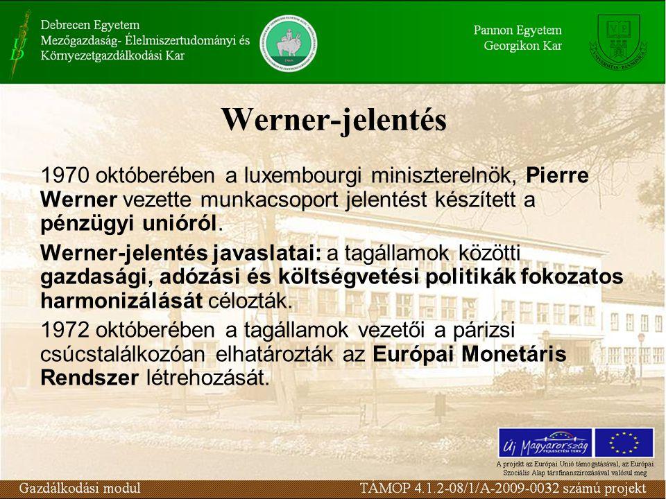 Werner-jelentés 1970 októberében a luxembourgi miniszterelnök, Pierre Werner vezette munkacsoport jelentést készített a pénzügyi unióról.