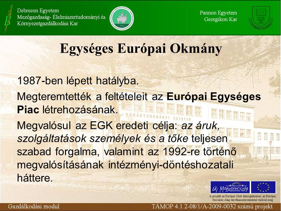 Egységes Európai Okmány 1987-ben lépett hatályba.