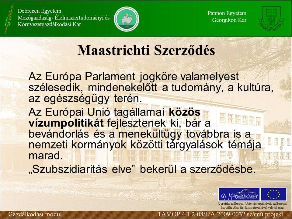 Maastrichti Szerződés Az Európa Parlament jogköre valamelyest szélesedik, mindenekelőtt a tudomány, a kultúra, az egészségügy terén.