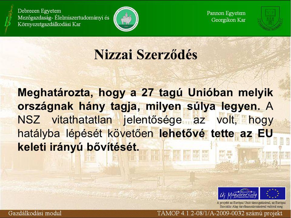 Nizzai Szerződés Meghatározta, hogy a 27 tagú Unióban melyik országnak hány tagja, milyen súlya legyen.
