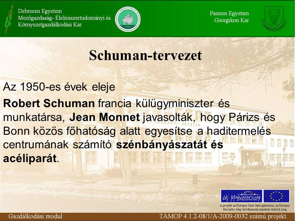 Schuman-tervezet Az 1950-es évek eleje Robert Schuman francia külügyminiszter és munkatársa, Jean Monnet javasolták, hogy Párizs és Bonn közös főhatóság alatt egyesítse a haditermelés centrumának számító szénbányászatát és acéliparát.