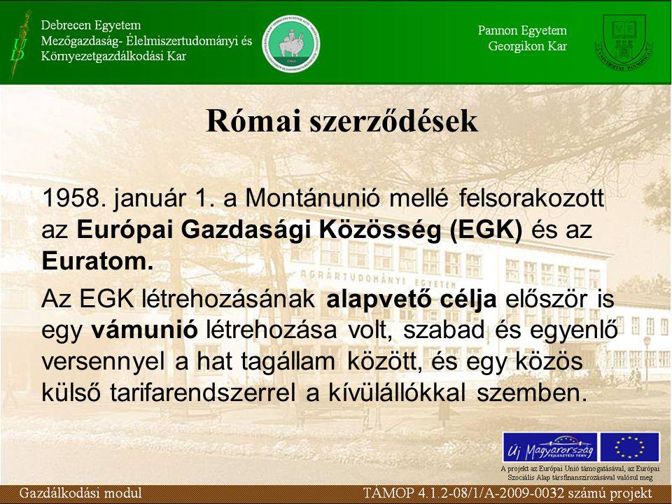 Római szerződések 1958. január 1.