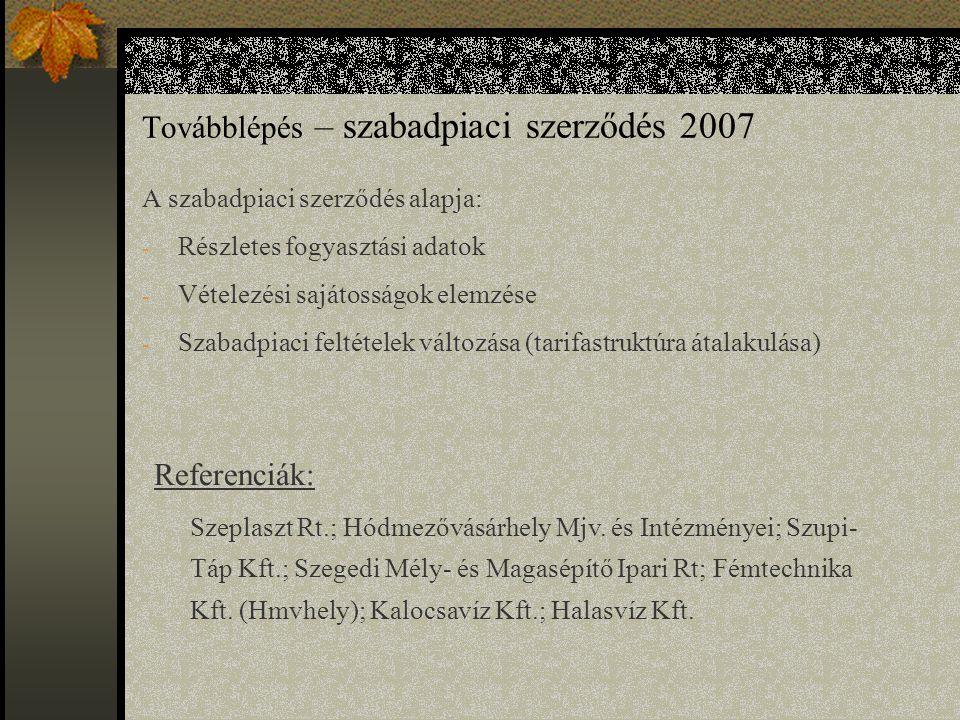 Továbblépés – szabadpiaci szerződés 2007 A szabadpiaci szerződés alapja: - Részletes fogyasztási adatok - Vételezési sajátosságok elemzése - Szabadpiaci feltételek változása (tarifastruktúra átalakulása) Referenciák: Szeplaszt Rt.; Hódmezővásárhely Mjv.