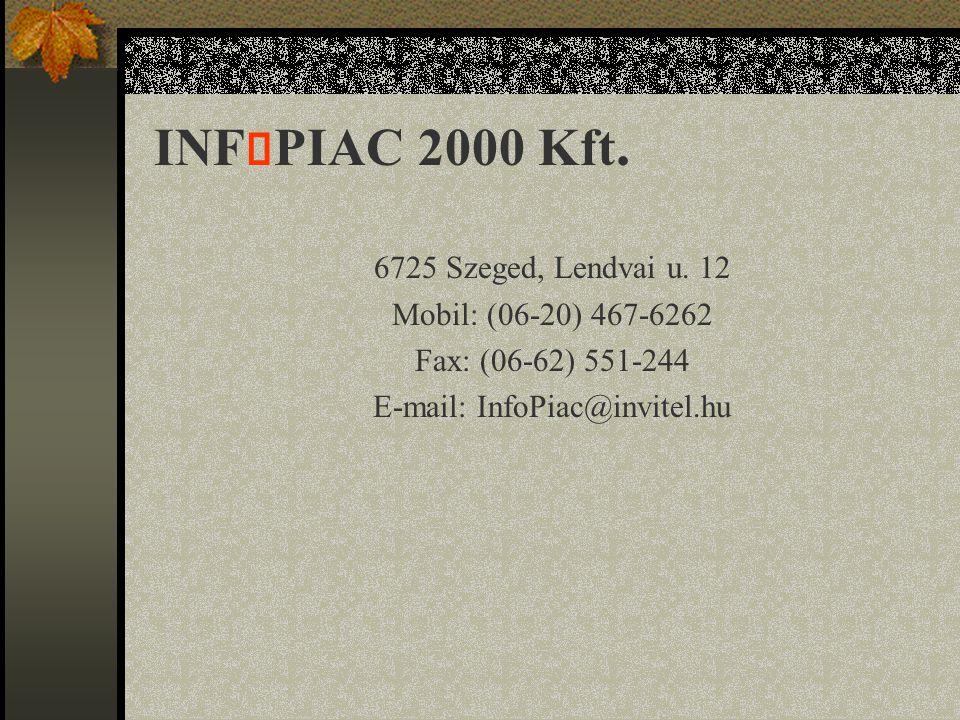 INF  PIAC 2000 Kft. 6725 Szeged, Lendvai u.