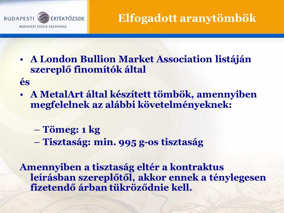 Elfogadott aranytömbök •A London Bullion Market Association listáján szereplő finomítók által és •A MetalArt által készített tömbök, amennyiben megfel
