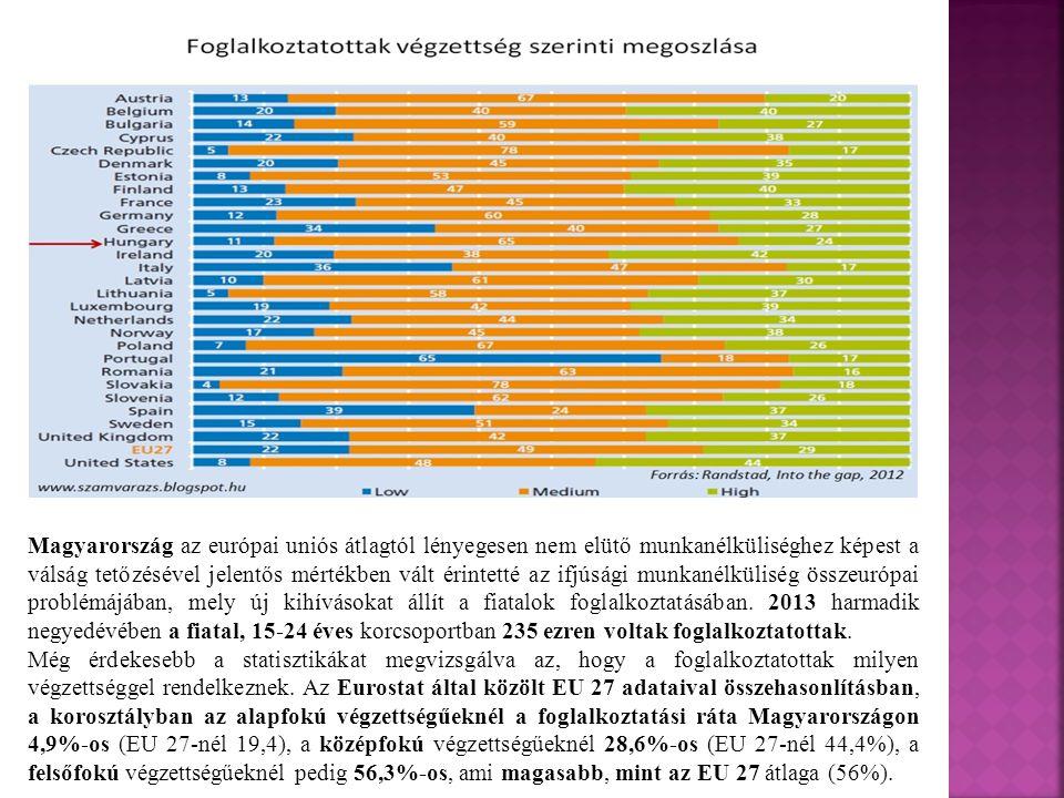 Magyarország az európai uniós átlagtól lényegesen nem elütő munkanélküliséghez képest a válság tetőzésével jelentős mértékben vált érintetté az ifjúsá