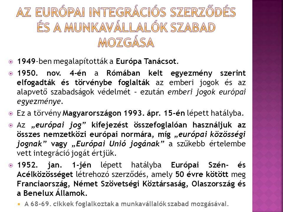  1949-ben megalapították a Európa Tanácsot.  1950. nov. 4-én a Rómában kelt egyezmény szerint elfogadták és törvénybe foglalták az emberi jogok és a