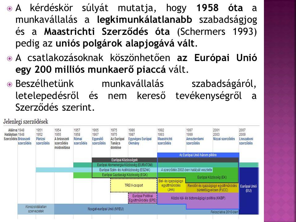  A kérdéskör súlyát mutatja, hogy 1958 óta a munkavállalás a legkimunkálatlanabb szabadságjog és a Maastrichti Szerződés óta (Schermers 1993) pedig a