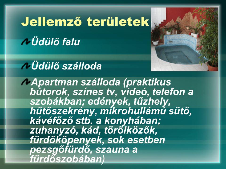 Jellemző területek Üdülő falu Üdülő szálloda Apartman szálloda (praktikus bútorok, színes tv, videó, telefon a szobákban; edények, tűzhely, hűtőszekré