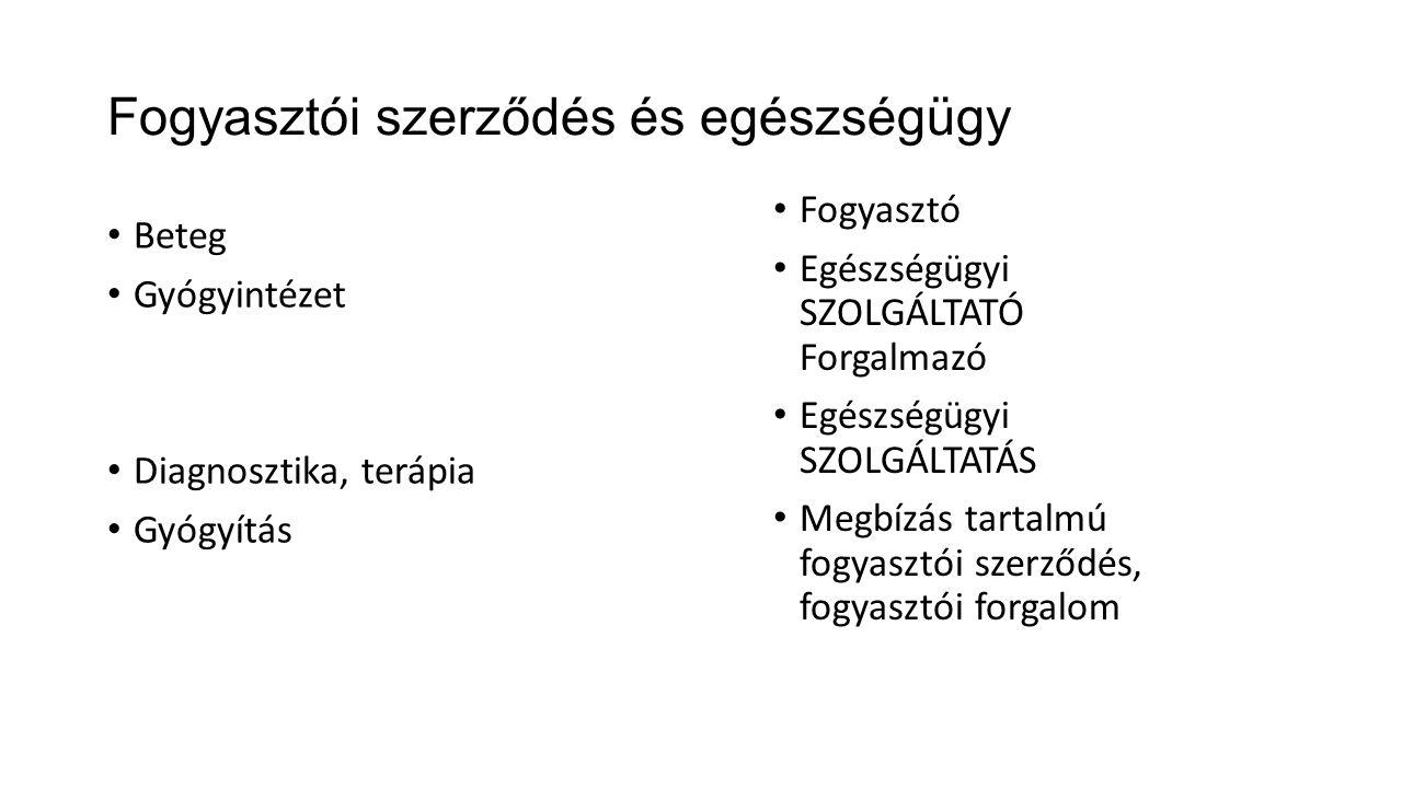 Fogyasztói szerződés és egészségügy • Beteg • Gyógyintézet • Diagnosztika, terápia • Gyógyítás • Fogyasztó • Egészségügyi SZOLGÁLTATÓ Forgalmazó • Egészségügyi SZOLGÁLTATÁS • Megbízás tartalmú fogyasztói szerződés, fogyasztói forgalom