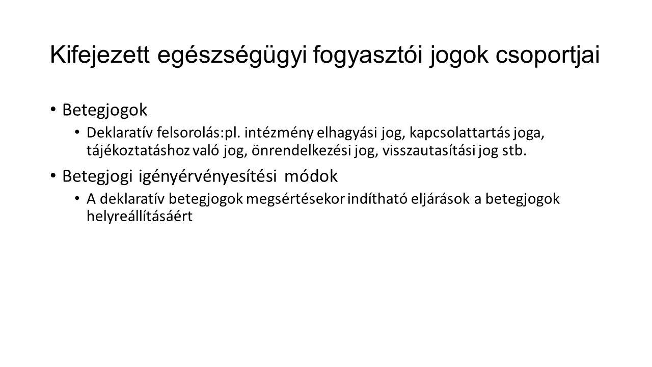 Kifejezett egészségügyi fogyasztói jogok csoportjai • Betegjogok • Deklaratív felsorolás:pl.